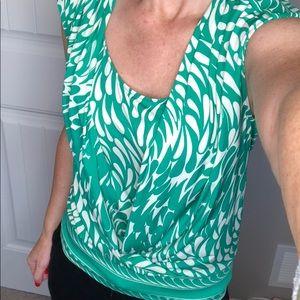 BCBG green and cream tank/blouse